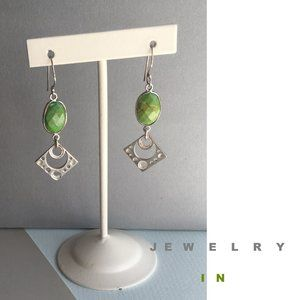 Green Nature Turquoise Edging Silver Earring